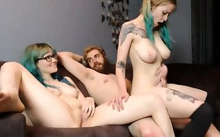 Hardcore threesome and cum exposed to boobs with two cute adolescence