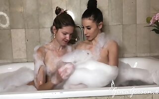 Lesbian Bubbles Fianc� To A catch Bath - Nelly Kent Together with Gina Gerson