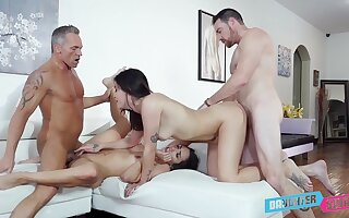 Addictive cam intercourse less scenes of father-son foursome