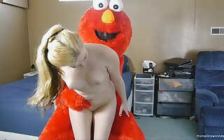 White girl gets naked and full hardcore with a guy in a Muppet costume