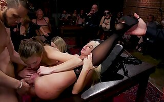 Hardcore threesome sex in twosome private club of perverts
