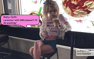 Whorish blond chick is outlook fucked plus jizzed by a handful of kinky stranger