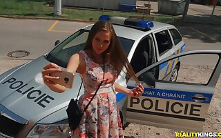Perverted Cop Erik Everhard punishes prankish czech teen Stacy Cruz