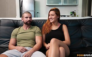 Passionate fucking upstairs the leather sofa with cock hungry GF Kta