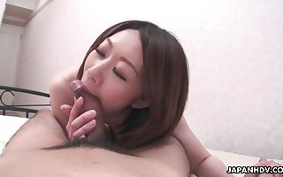 Japanese wife feels fantastic riding her lucky economize on top