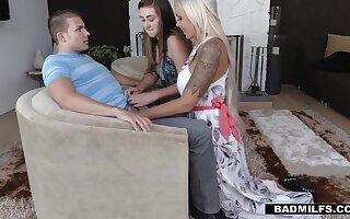 Lustful progenitrix with big tits Nina Elle hits on stepdaughter's boyfriend