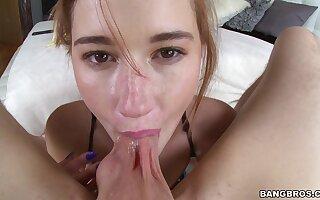 Dick hungry hottie Alaina Dawson gives head and gets fucked hard
