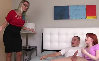 Redhead gives man opportunity to enjoy blowjob by her stepfather