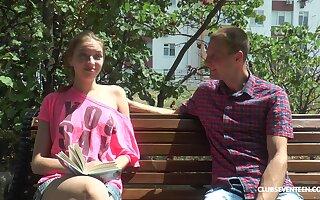 Slender teen Vika Lita seduced by a stranger and gets a cumshot on ass