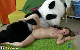 A young slut fucks a sponger in a panda costume
