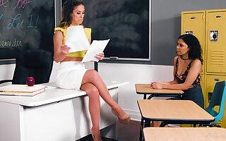 Professor Cherie DeVille hooks issued sexy student Jeni Angel