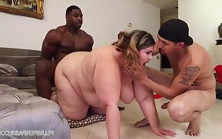 BBW fucked hard interracial threesome