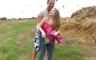 Girlfriend Alessandra Jane unmask and fucked about outdoors
