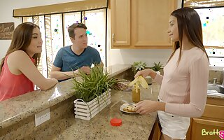 Cute neonate Avi Lovehelps her stepbrother to toss out blue balls