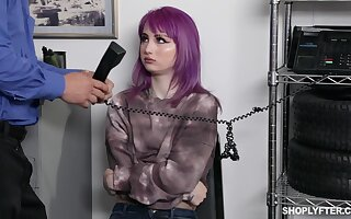 Emo girl with purple hair Val Steele is punished with hard banging